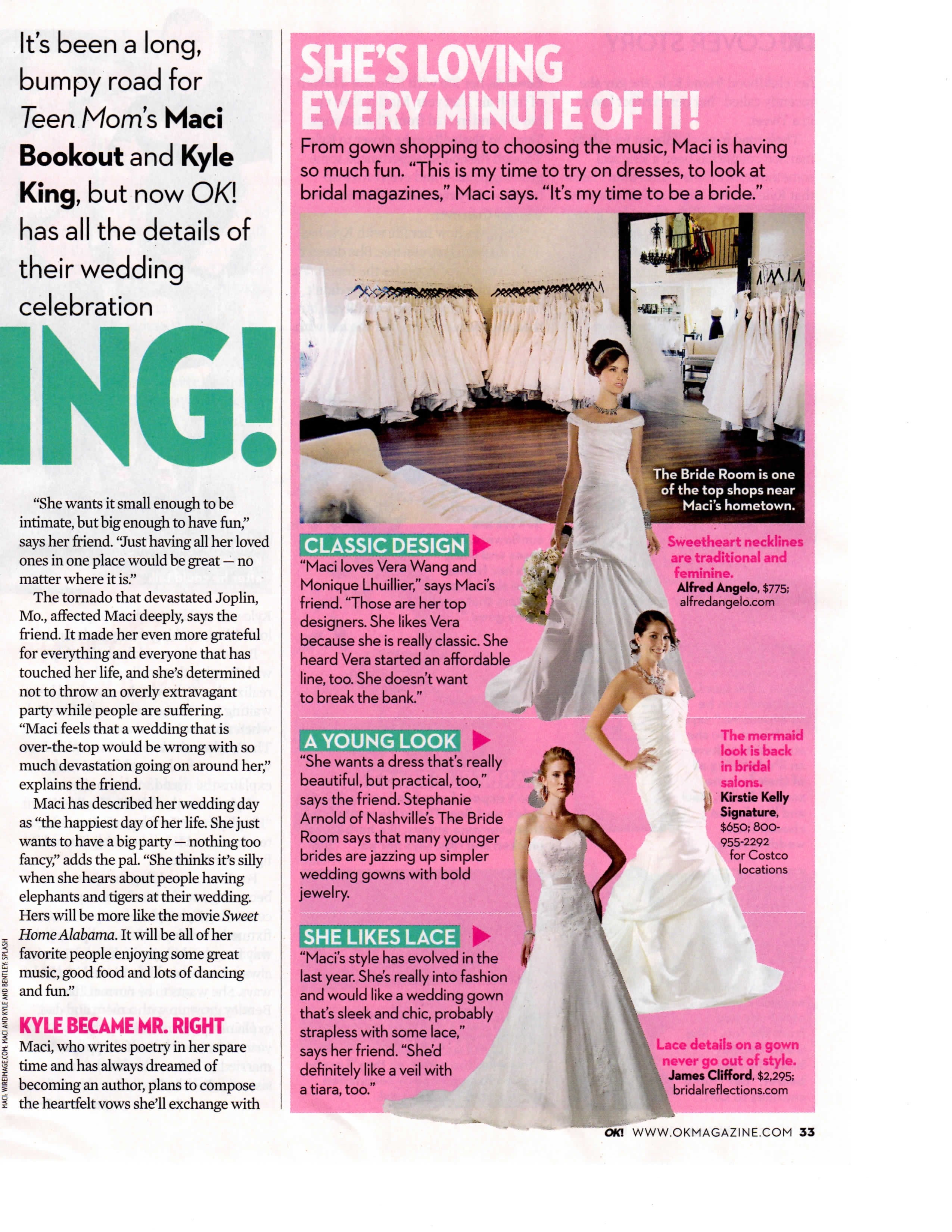 bridal reflections featured in ok magazine s maci s dream wedding. Black Bedroom Furniture Sets. Home Design Ideas