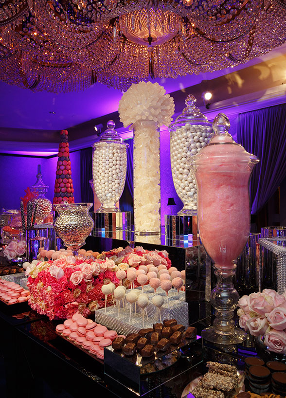 A color coordinated candy and dessert bar! Source: http://www.colincowieweddings.com/food-and-drink/12-unique-wedding-desserts