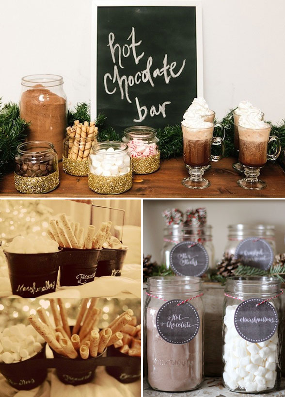 Make your own hot chocolate bar, perfect for a winter wedding! Source: http://www.colincowieweddings.com/food-and-drink/12-unique-wedding-desserts