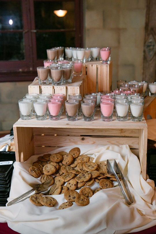 Milk and cookies with shots of milk! Source: http://www.weddingvenues.com/news/10-ways-to-entertain-children-at-weddings-22377?utm_content=buffer0be1e&utm_medium=social&utm_source=pinterest.com&utm_campaign=buffer