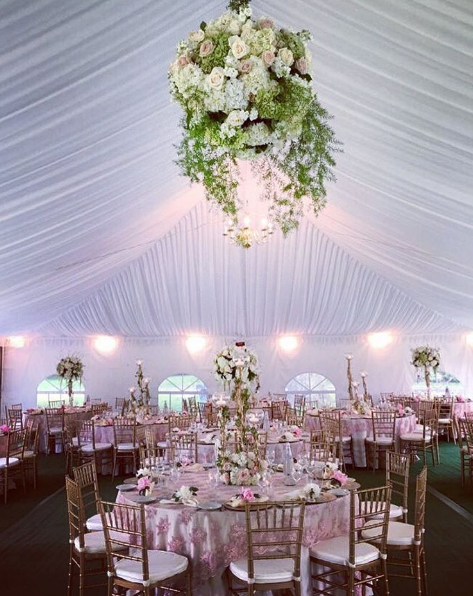 Wedding wednesday ceiling dcor bridal reflections for inspiration for ceiling dcor on your special day check out these beautiful creations by pedestal floral decorators junglespirit Image collections